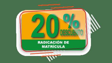 20% Descuento en Radicado de Cuenta